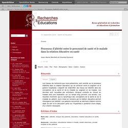 Processus d'altérité entre le personnel de santé et le malade dans la relation éducative en santé