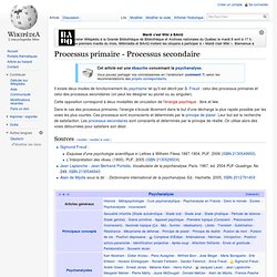 Processus primaire - Processus secondaire