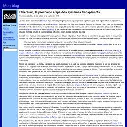 Ethereum, la prochaine étape des systèmes transparents