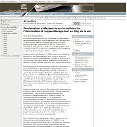 Proclamation d'Alexandrie 2005 - la maîtrise de l'information