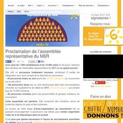 Proclamation de l'assemblée représentative du M6R