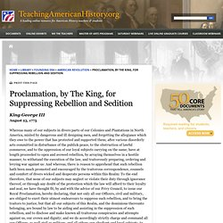 Proclamation for Suppressing Rebellion and Sedition by King George III