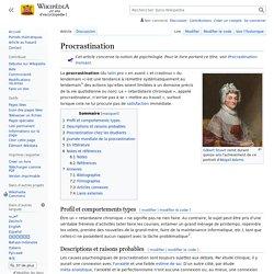 """Définition de la Procrastination """"Wikipedia"""""""