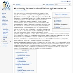 Overcoming Procrastination/Eliminating Procrastination - Wikibooks, open...