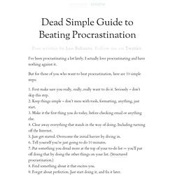Dead Simple Guide to Beating Procrastination