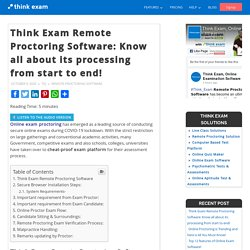 Think Exam Remote Proctoring Software: Know all about its processing from start to end! – Thinkexam Blog