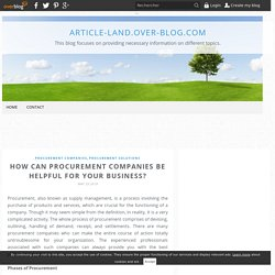 The role of a procurement companies for a business