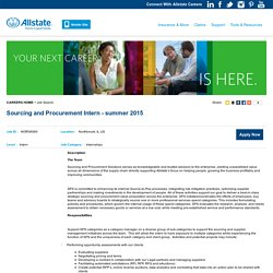 Sourcing and Procurement Intern - summer 2015 - Northbrook, IL - Allstate Careers
