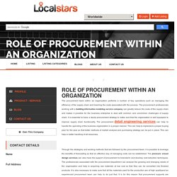 Role of Procurement within an Organization