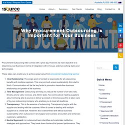 Why Procurement Outsourcing Important For Business - 1source