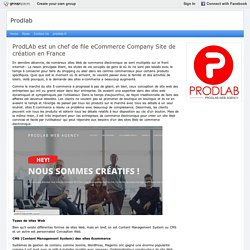 ProdLAb est un chef de file eCommerce Company Site de création en France : Prodlab