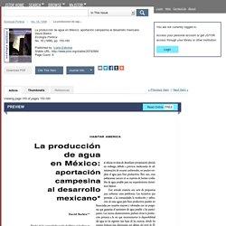 La producción de agua en México: aportación campesina al desarrollo mexicano on JSTOR