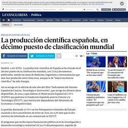 La producción científica española, en décimo puesto de clasificación mundial