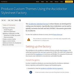 Produce Custom Themes Using the Asciidoctor Stylesheet Factory