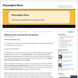 Getting my play produced, #5: the synopsis