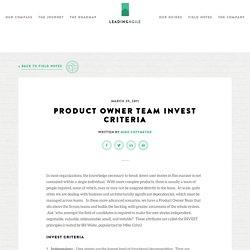 Product Owner Team INVEST Criteria -LeadingAgile