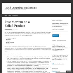 Post Mortem on a Failed Product