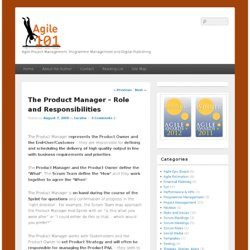 The Product Manager – Role and Responsibilities : Agile101 – Agile Project Management and Digital Publishing