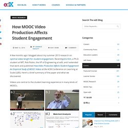 How MOOC Video Production Affects Student Engagement