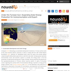 Under the Tunisian Sun: Expanding Solar Energy Production for Autoconsumption and Export