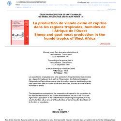 FAO - 1987 - La production de viande ovine et caprine dans les régions tropicales, humides de l'Afrique de l'Ouest