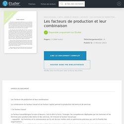 Les facteurs de production et leur combinaison - Rapport de Stage - Raphou59