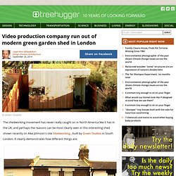 Video production company run out of modern green garden shed in London