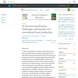 In vitro meat production: Challenges and benefits over conventional meat production