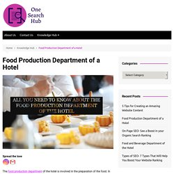 Food Production Department of a Hotel - One Search Hub