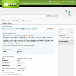 Production d'écrits au CE1 et CM2 à l'aide des tablettes