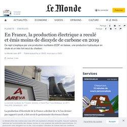 En France, la production électrique areculé etémis moins dedioxyde de carbone en2019