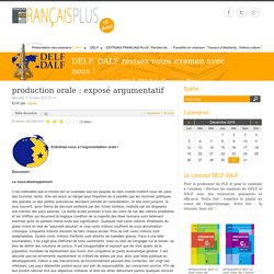 production orale : exposé argumentatif