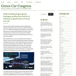 SGH2 building largest green hydrogen production facility in California; gasification of waste into H2 - Green Car Congress