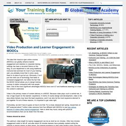 Video Production and Learner Engagement in MOOCs