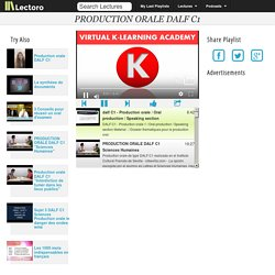 PRODUCTION ORALE DALF C1 - Lectoro - Lectures & Podcasts Playlists