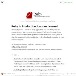 Ruby in Production: Lessons Learned
