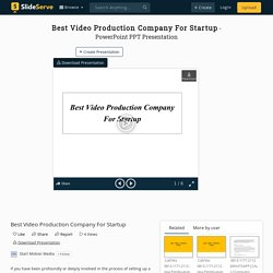 Best Video Production Company For Startup