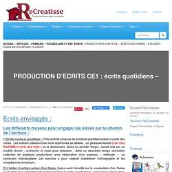 PRODUCTION D'ECRITS CE1 : écrits quotidiens - Ateliers - Chantier d'écriture LE CONTE