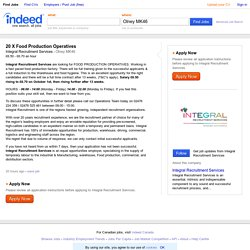 20 X Food Production Operatives job - Integral Recruitment Services - Olney MK46