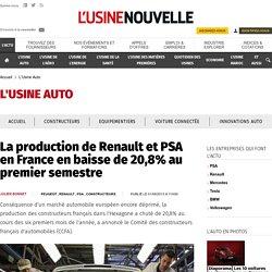 La production de Renault et PSA en France en baisse de 20,8% au premier semestre - L'Usine Auto