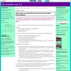 Plan (pour la production orale) sur les nouvelles technologies - formation au C1