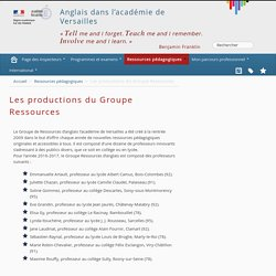 Les productions du Groupe Ressources