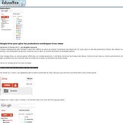 Google Drive pour gérer les productions numériques d'une classe