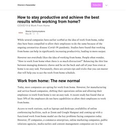 How to stay productive and achieve the best results while working from home? - Xtreme Communications
