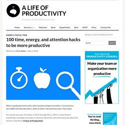 100 time, energy, and attention hacks to be more productive – A Life of Productivity