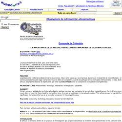 La PRODUCTIVIDAD como componente de la COMPETITIVIDAD - Eumed.net