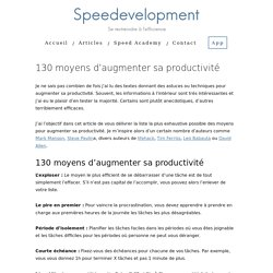 130 moyens d'augmenter sa productivité - Speedevelopment