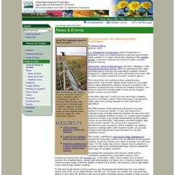 Two Approaches for Optimizing Water Productivity / April 26, 2013 / News from the USDA Agricultural Research Service