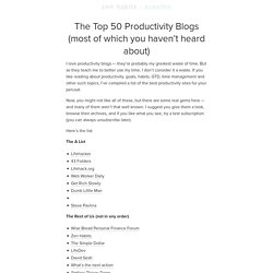 The Top 50 Productivity Blogs (most of which you haven't heard about)