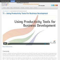 T1 – Using Productivity Tools For Business Development
